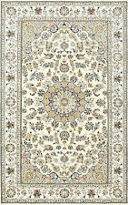 Fine Nain 5'x8' Ivory Wool Hand-Knotted Oriental Rug