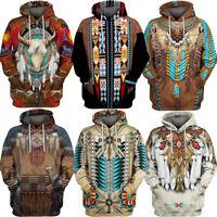 Indian 3D Print Men Hoodie Sweater Pullover Hooded Sweatshirt Casual Dress Shirt