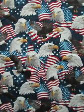 AMERICAN EAGLE HEADS USA FLAG PATRIOTIC EAGLES STARS STRIPES COTTON FABRIC FQ