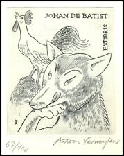 Vermeylen Antoon Exlibris C2 Fairy Tales Fox Rooster Fuchs Hahn Lis Kogut 1935