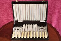 Antique English Silver Plated Cutlery Set in Original Box, 12 pcs