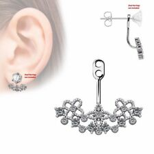 One Piece Paved CZ Floral Filigree Fan Add On Earring Cartilage Barbell Jacket