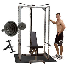 Powerline Power Rack PPR200X Package, Bench, Lat, 300 lb Set, Mat, Plate Tree