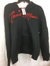 Minnie Mouse Disney Parks Hoodie Black Zip Up Sweatshirt with EARS Women's XL