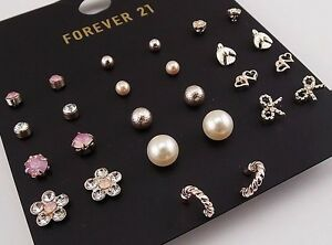 12 pair Ear Stud and 1 pair Earring Set FOREVER 21 Faux Pearl Crystal BNWT