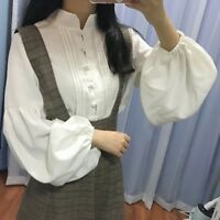 Retro Lady Lolita Blouse Victorian Shirt Puff Sleeve Pleated Tops Vintage Casual