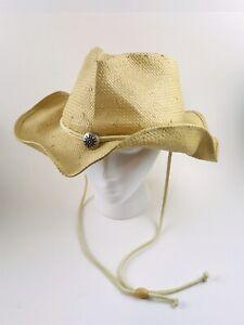 Scala Cowboy Cowgirl Western Hat Natural Fiber Sun Bead S/ M Size