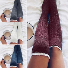 Girls Ladies Women Lace Over the Knee Socks Long Cotton Stockings Winter Warm UK