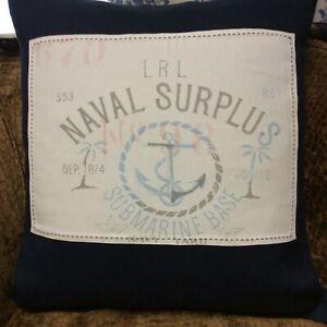 Ralph Lauren Linen Navy Naval Surplus Submarine Base Nautical Throw Pillow NIOP