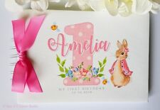 PERSONALISED PETER RABBIT - FIRST / 1ST BIRTHDAY PARTY GUEST BOOK - SCRAPBOOK A5