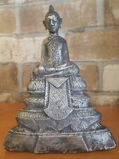 "19c. Antique Silver Seated Buddha Statuette 7"" Cambodia Burma Laos Thai RARE"