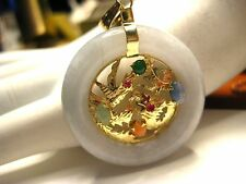 14K Yellow Gold Light Jade Circle Pendant with Bird Dragon Emerald Ruby Coral