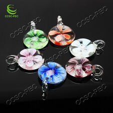 Wholesale Lots 6pcs Round Flower Lampwork Glass Handmade Pendant Fit Necklace