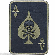 Ace Of Spades Skull Crossbones Cards Poker Casino Game Biker Iron on Patch CP001
