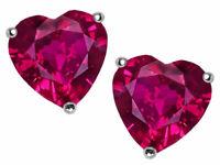1 ct. Heart Ruby Stud Earrings in Sterling Silver ~ JULY BIRTHSTONE