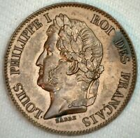 Rare France Essai Barre 5 Cent Bronze Coin ND 1824-30 A Five Centimes French UNC