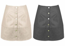 Short/Mini Faux Leather No Pattern Regular Skirts for Women