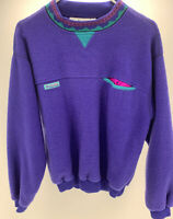 Vintage Columbia Fleece Pullover Mens Made In USA Aztec Purple Teal Size Small
