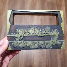 Vtg Letterpress Printing Block Christmas Or Winter Theme Pine Cones Branches