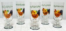 Set of 5 Hand-painted Rooster Sunflower Glasses Footed Drinking Parfait Dessert