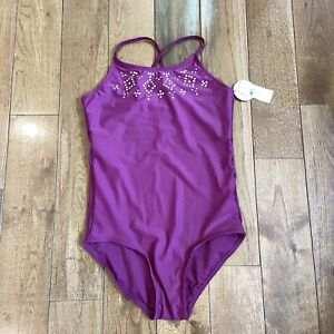 NWT Girls Justice One Piece Swimsuit Bathing Suit Purple Pink Bejeweled Sz 16