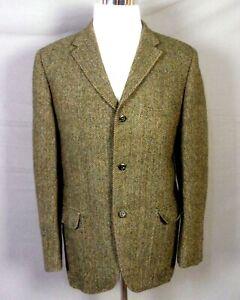 vintage 60s Green Wool Harris Tweed Shooting Jacket Blazer Chin Strap 42 R