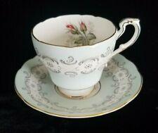 Paragon RADSTOCK Bone China Tea Cup Saucer Set Robin Egg Blue Pink Rose Bud Lace