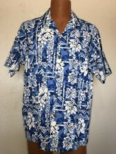 Bishop St. Apparel Button Up Down SS Shirt Hawaiian Vacation Aloha Large Blue