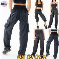 Women Comfort Joggers Cargo Combat Pants Pocket Trousers Bottoms Sweatpants US