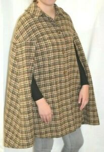 Pendleton Wool Brown White Gray Plaid Cape Mod True Vintage Red Lining 50s