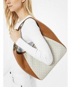Michael Kors Fulton Signature Vanilla/Acorn Large Hobo Shoulder Bag