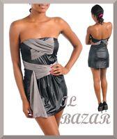 vestito donna mini abito corto drappeggio grigio metallizzato fascia tg s,m,l