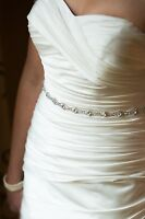 Bridal Dress Wedding Rhinestone Crystal Belt Sash with Ribbon closure