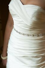 Bridal Dress Wedding Rhinestone Crystal Belt Sash with Ribbon closure