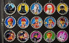 15 Batman Movie SILVER Flat Bottle Cap Necklaces Set 1
