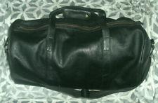 Manzoni Black Soft Genuine Leather Large Holdall Travel Weekend Bag