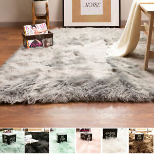 Fluffy Faux Sheepskin Shag Rug Silky Mat Accent Rug Non Slip, 2' x 3' Rectangle
