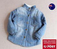 New Kids Boys Children Denim blue Handsome Warm Winter Jacket Coat  2-7 Years