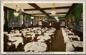 """Washington DC Postcard """"One of the Famous Occidental Dining Rooms"""" Hotel c1930s"""