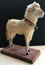 "Vintage Sheep with Wood Legs & Real Skin - 6.75"""