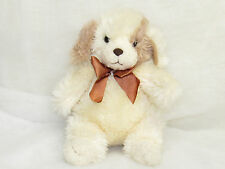 VTG 1991 PRESTIGE CREAM PUPPY DOG PLUSH STUFFED SHAGGY ANIMAL BROWN RIBBON