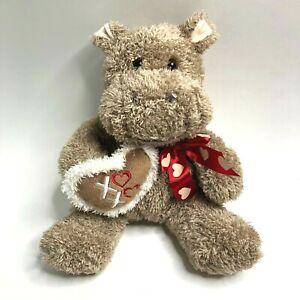 "Dan Dee Tan Hippo 12"" Plush XOXO Heart Hippopotamus Stuffed Animal Toy"