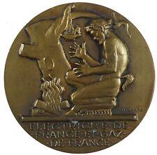 Art deco satyr Pan ELECTRICITE ET GAZ DE FRANCE bronze 55mm by Dropsy