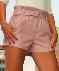 Leder-Shorts mit Gürtel aus Kunstleder elegant  rose