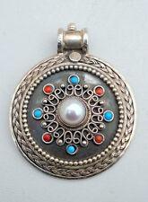 Estate Vintage Sterling Silver Pendant Necklace gems