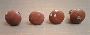 4 Antique Painted Maple Wood Drawer Pull Knobs Old Red Paint Over Blue Paint