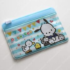 Sanrio Pochacco Dog & friends striped blue Card Holder zip bag