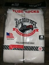 Railroad Sock ~ NEW 6-Pair White Tube Socks USA ~ Sock Size 10-13 Shoe Size 6-12