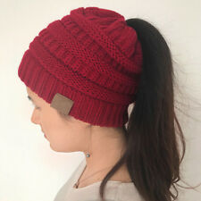 Women Girl High Bun Ponytail Stretchy Knitted Beanie Hat Winter Warm Ski Cap
