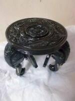 WOODEN Elephant Floral Carved Round Table Hand Made Ornament Gift Art Decor New